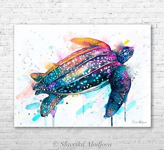 Leatherback Sea Turtle Watercolor Painting Print By Slaveika