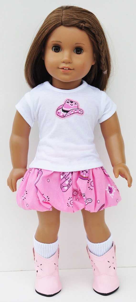 American Girl Clothes - Pink Cowgirl Hat Tshirt & Bubble Skirt. $24.00, via Etsy.