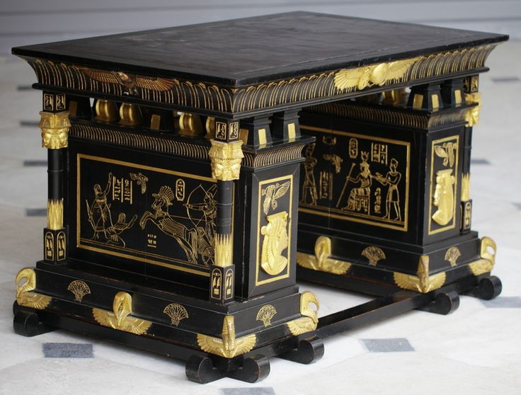English Egyptian Revival Desk, Late Victorian, 30 In. High, 50 In.