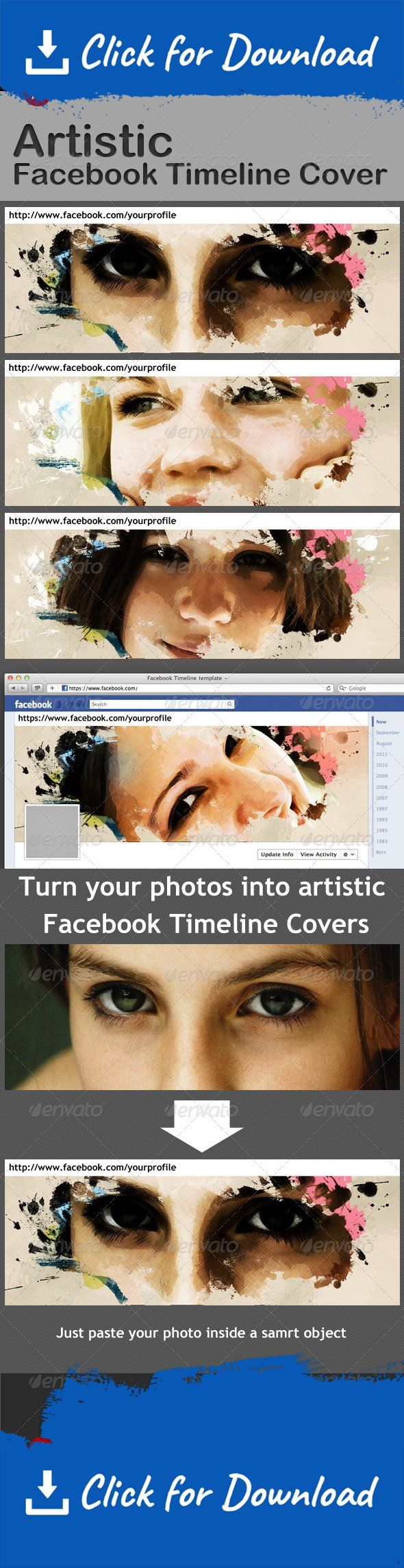 artistic, cover, drawing, effect, facebook, facebook cover, painting, photo, timeline, timeline cover, watercolor You can create artistic and beautiful Facebook Timeline Covers from your photos easily. This pack includes one PSD file and Instructions.