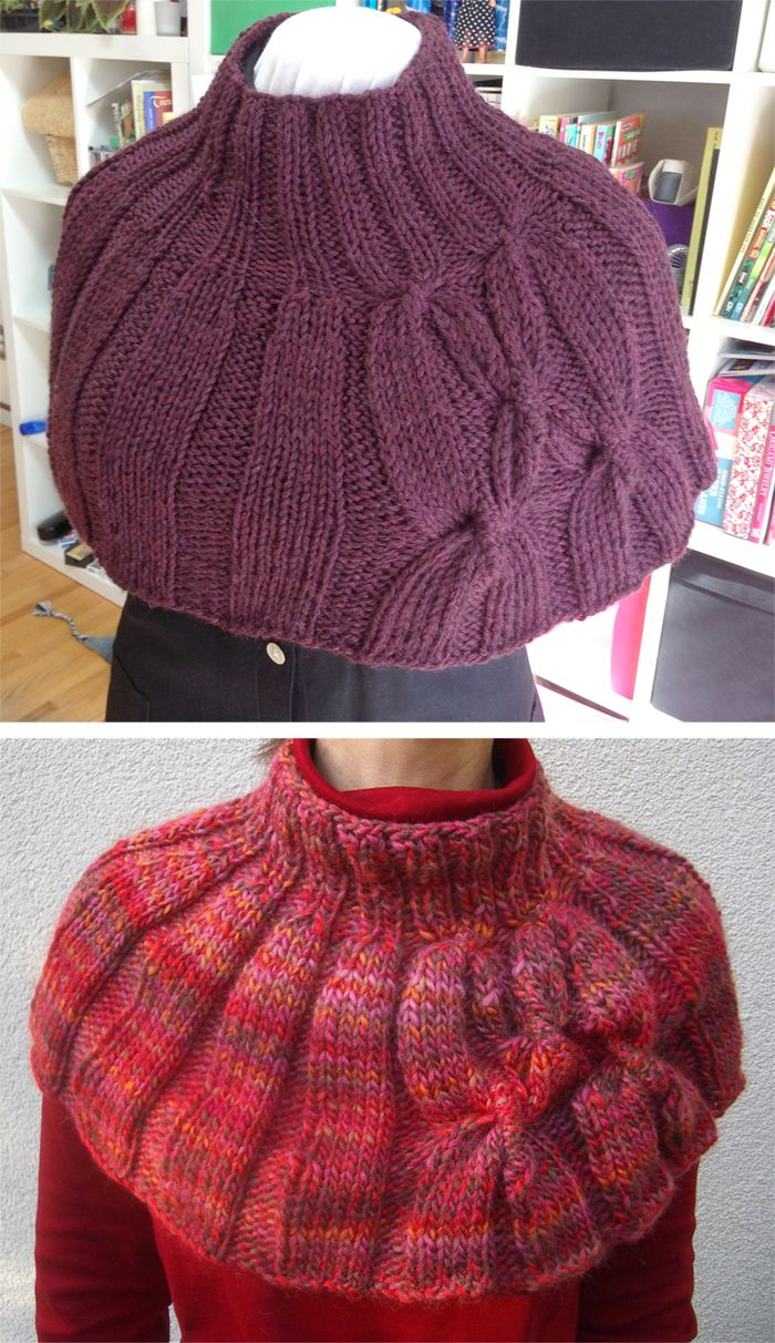 Free Knitting Pattern for Cadeau - This shoulder cozy cowl with cables comes with instructions for 2 lengths. Quick knit in bulky yarn. Designed by Wei S. Leong. Pictured projects by IamSta and YorkshireKnitwit