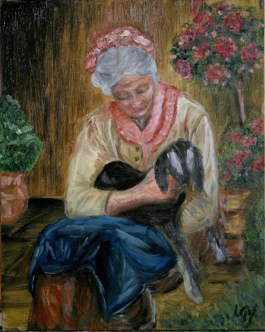 Öregnéne gidája Olaj festmény 24*30 cm