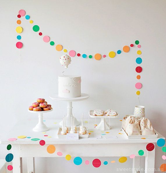Oh so Pretty Polkadots! This is our Sprinkle and Confetti inspired garland that we made for Leanne of Sweet Style, and it seems everyone is