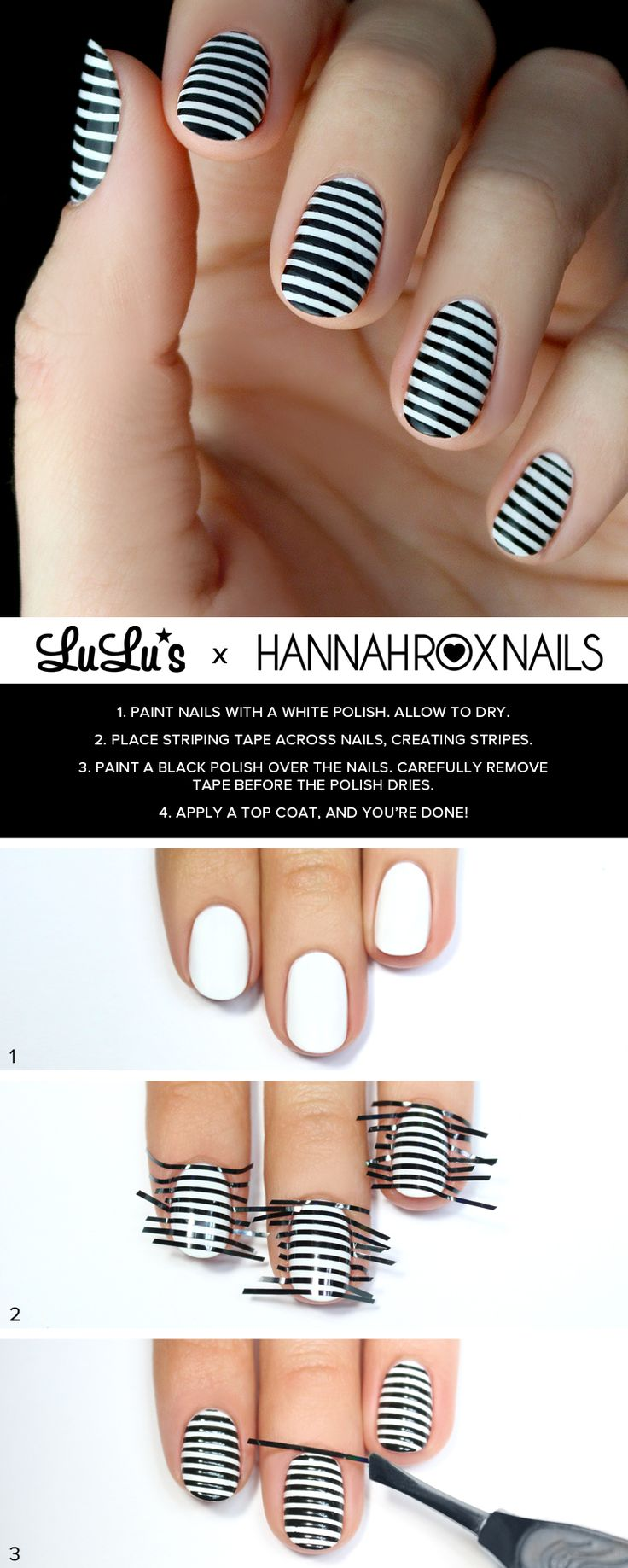 Black and White Striped Nail