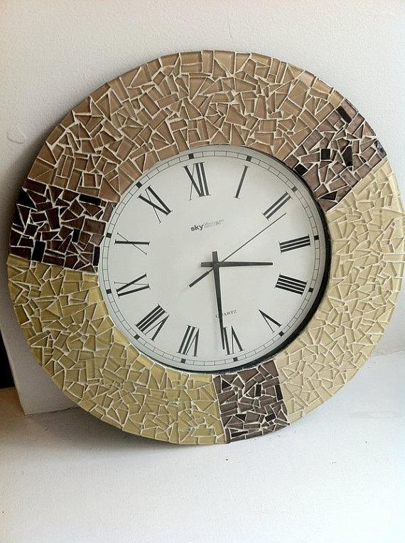 Mosaic Wall Clock Wall Art Quartz Brown Tan By