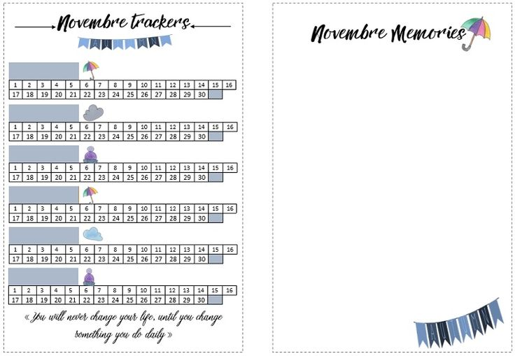 Trackers Bullet Journal Novembre Free Printable