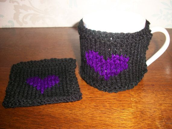 Mug Rug & Cosy Set  Gift Goth Purple Heart by thekittensmittensuk, £8.00
