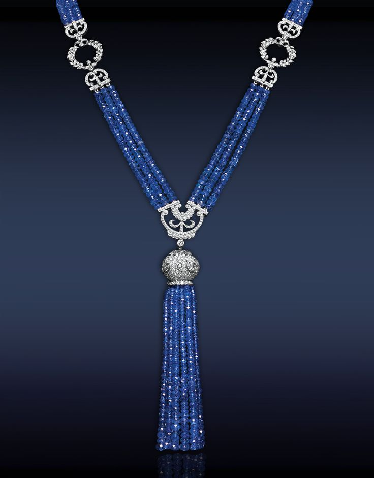 Blue Sapphire Tassel Necklace,Featuring: 364.44 Ct Blue Sapphires Highlighted with 10.40 Ct Pave Set White Diamonds Mounted in Platinum.