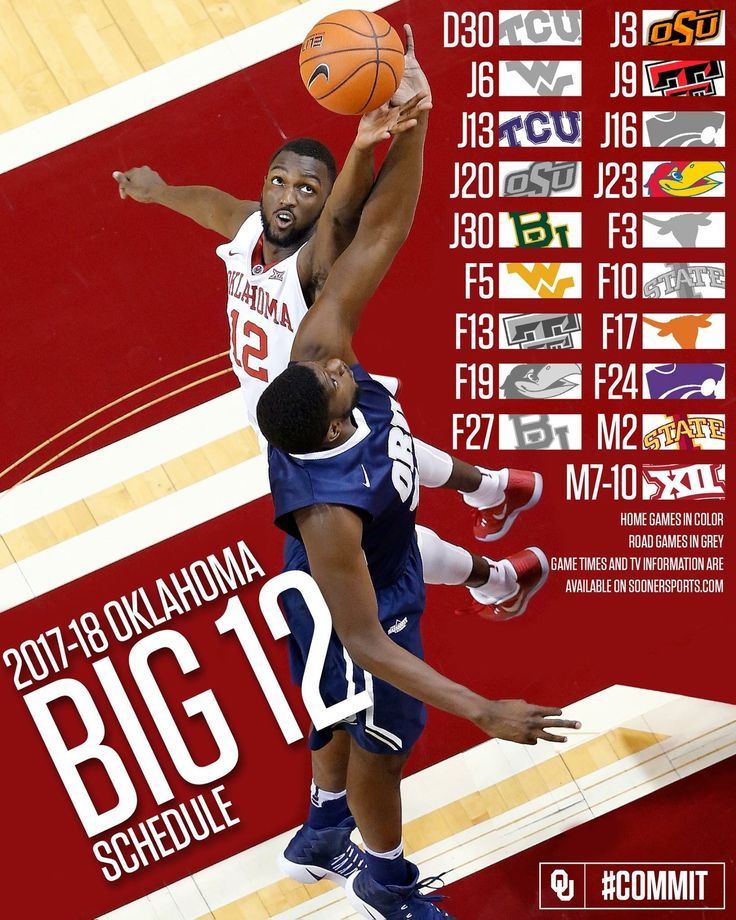 2017-18 Oklahoma Sooners Big XII Basketball Schedule.