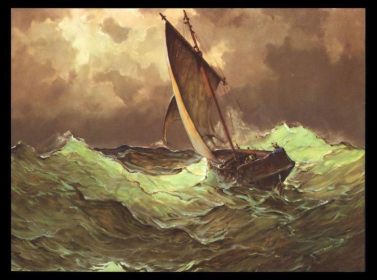 "VINTAGE 1954 ""CHANNEL SWELLS"" OCEAN WAVES SAIL BOAT ART PRINT BY WILLIAM BRIGL #Vintage"