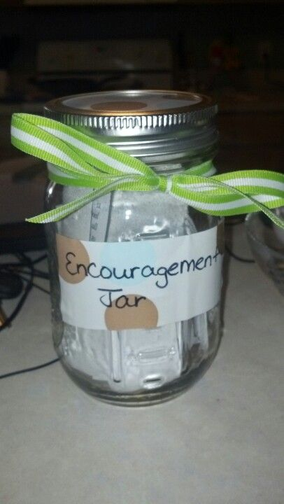 "I put uplifting scripture verses inside for a friend going through a hard time. :) You could use as a get well for someone sick with scripture or for a pregnant woman with empowering quotes. I got the idea from a ""reasons why i luv u"" jar."