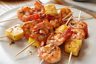 Pineapple-Shrimp Skewers. Sounds good. I love pineapple right now, it's my #1 craving.