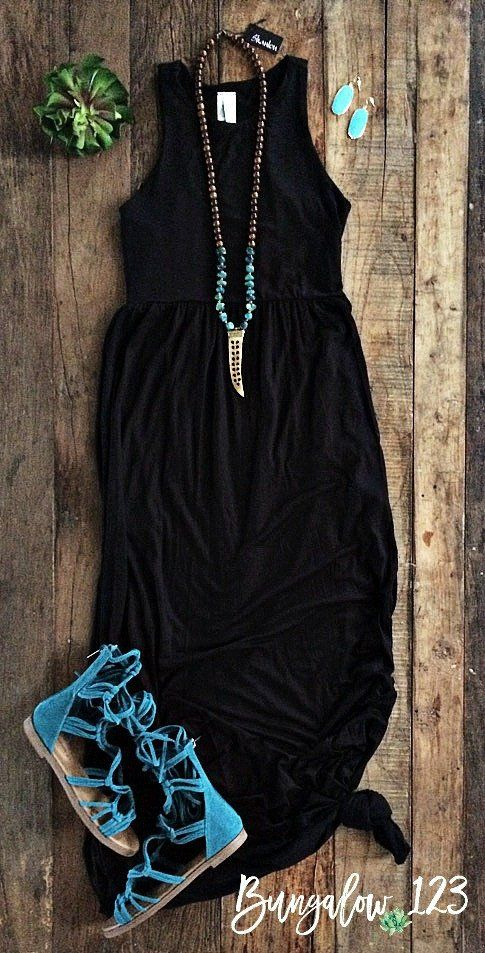Gorgeous Summer Maxi Dress in Black. Racerback style with two front pockets. Shown with the Turquoise/Carved Tusk Shanlou Necklace, Jennings Sandals in Turquoise, and Meghan Bo Gemstone Earrings in Tu