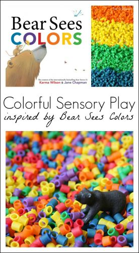 Fun sensory play activities for preschoolers, inspired by Bear Sees Colors