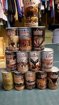 Vintage Lion Lager Beer Pull Tab Can South African lot of 13 wildlife