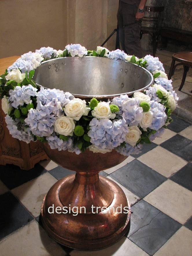 Baby blue #hydrangea, #white roses, green kermit #chrysanthemums for Greek…