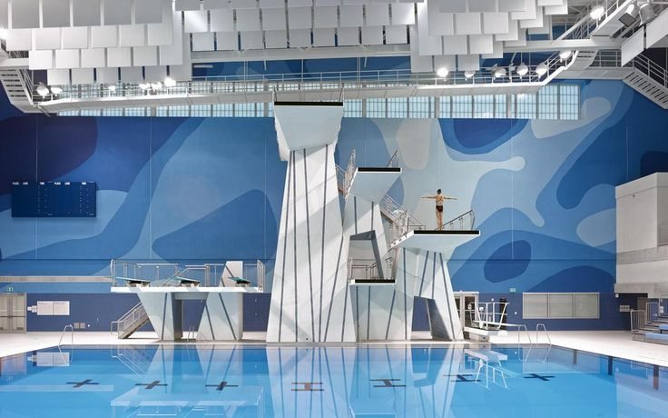 CIBC Pan Am and Parapan Am Aquatics Centre and Field House - East of the Centre's main north-south circulation spine lies the Aquatics Centre which includes two internationally sanctioned 10-lane, 50-metre pools (with moveable bulkheads); a 5-metre deep diving tank with 3-metre, 5-metre, 7.5-metre and 10-metre platforms; dry-land diver training facilities; and a Toronto 2015 Pan Am Games-time seating capacity of approximately 6,000.