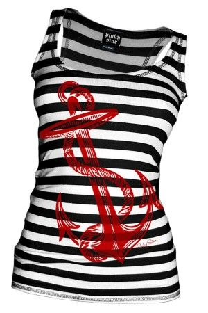Women's Anchors Aweigh Tank Top - Black/Red - I need this in my life.... now.