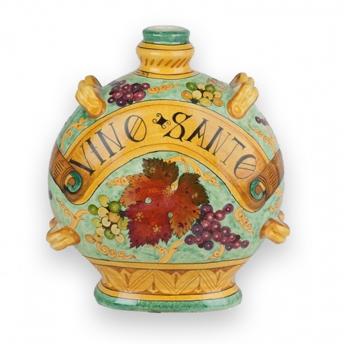 Settembre Round Bottle - hand made and hand painted Italian ceramic bottle from Tuscany. Italian pottery bottle with grapes.