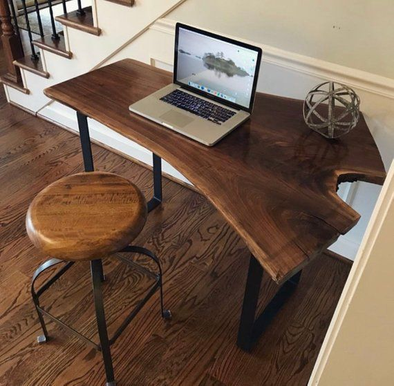 Custom Black Walnut Desk Live Edge Desk Walnut Desk Computer Desk Live Edge Slab Slab Desk Live Edge Desk Walnut Desks Slab Desk