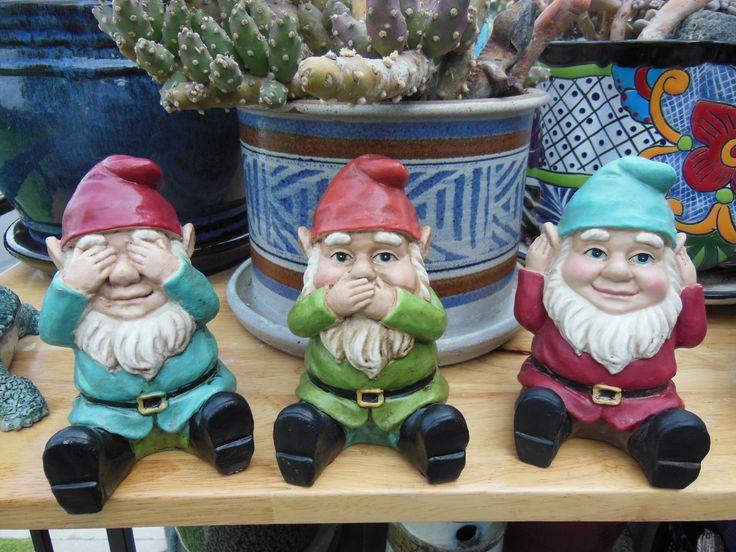 Garden Gnomes (Hear no evil, speak no evil, see no evil) plastic art