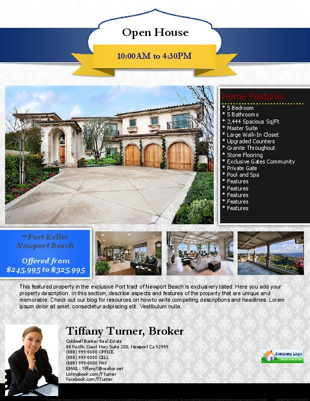 37 best Real Estate Marketing Flyer Templates images on Pinterest - open house flyer template