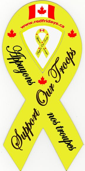 Red Fridays Products, yellow ribbons, support our troops, car decals, magnetic ribbons, support t-shirts