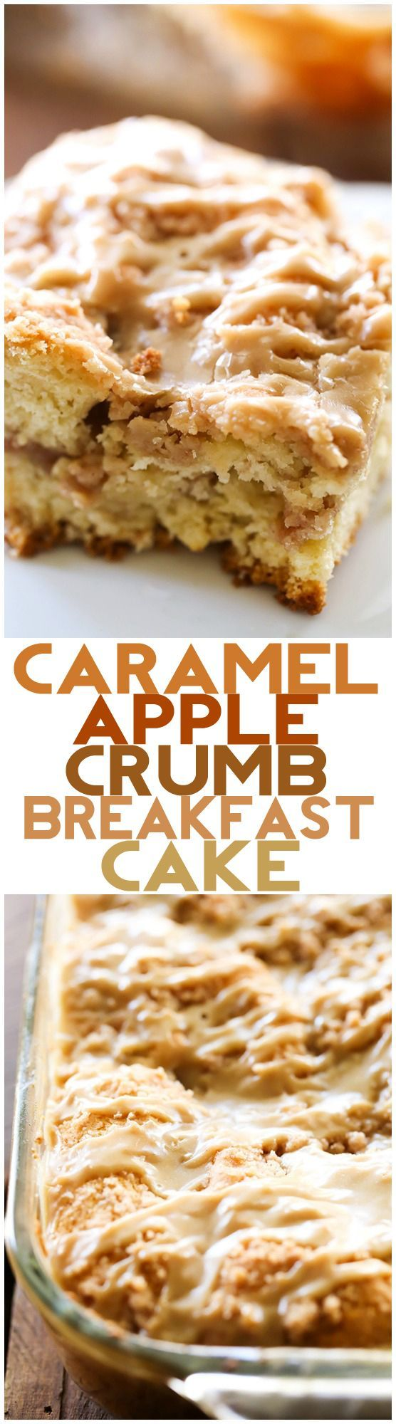 Caramel Apple Crumb Breakfast Cake - This recipe is absolutely DELICIOUS! Apple cake with crumb mixture swirled both in the center and over the top and drizzled in the most amazing caramel glaze!
