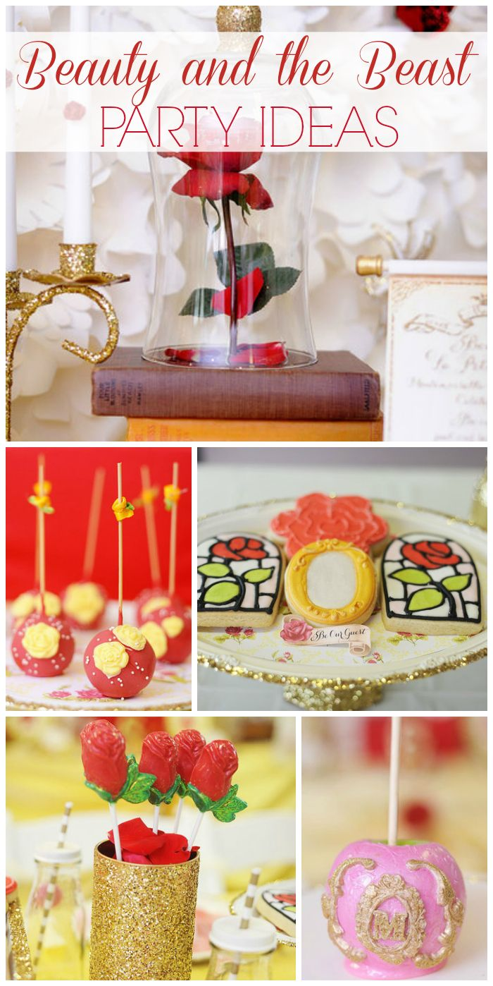 What a gorgeous red and yellow Beauty and the Beast girl birthday party! See more party ideas at CatchMyParty.com!
