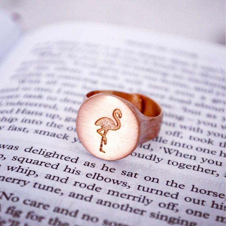 Our Flamingo Promise ring is back in stock!!   #flamingolove #flamingopink #flamingolover #likeaflamingo #flamingojewelry #handmadejewelry #chevalier #handmadering #jewelrylover #jewelryaddict #lovejewelry #gold #rosegold #pinkflamingo #tropicaljewelry