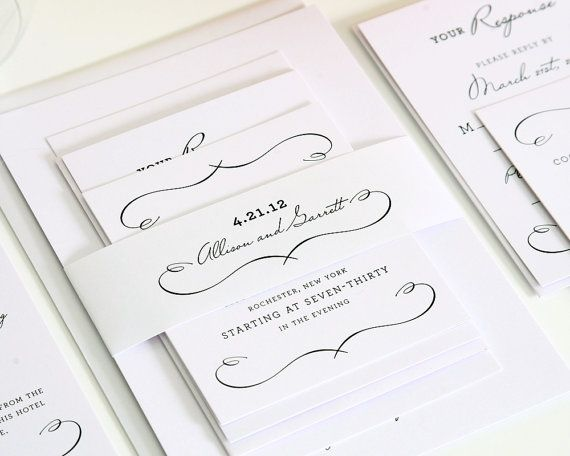 Woodlands Chic Wedding Invitation Suite - White Wedding, Romantic, Whimsical, Vintage Invitation - Sample Set