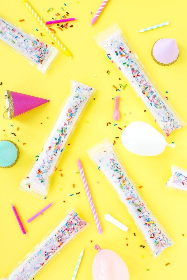 Funfetti Birthday Cake Freeze Pops/Ice Pops Recipe