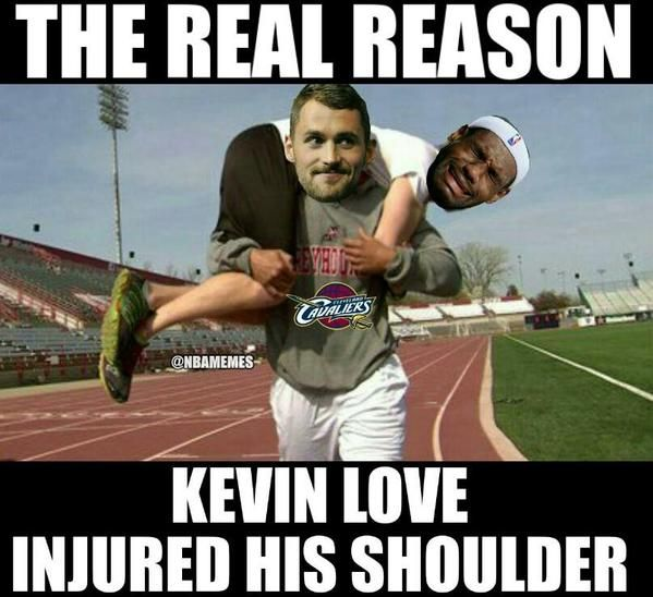 LeBron James loses Kevin Love to a shoulder injury.   #HeNee - http://nbafunnymeme.com/nba-memes/lebron-james-loses-kevin-love-to-a-shoulder-injury-henee