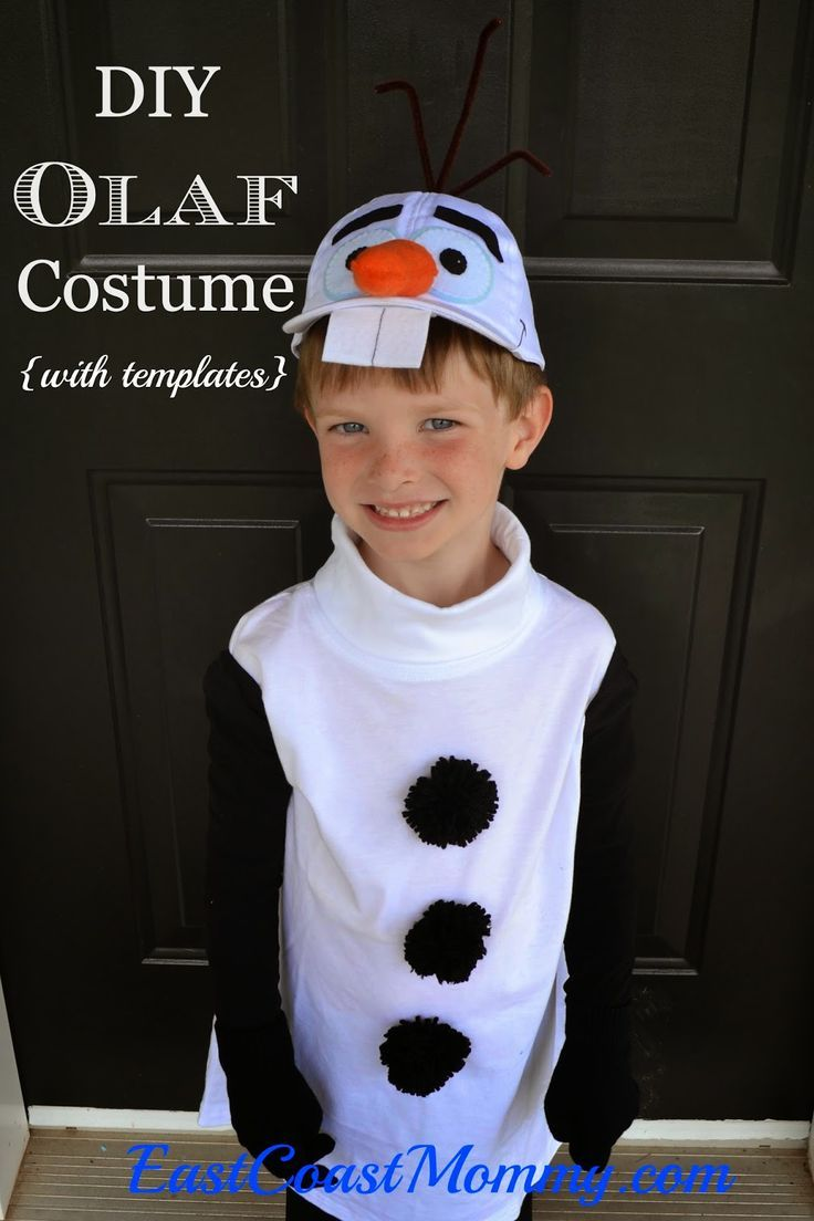 Adorable DIY Olaf Costume for LESS THAN $10. Free templates included and NO SEWING required.