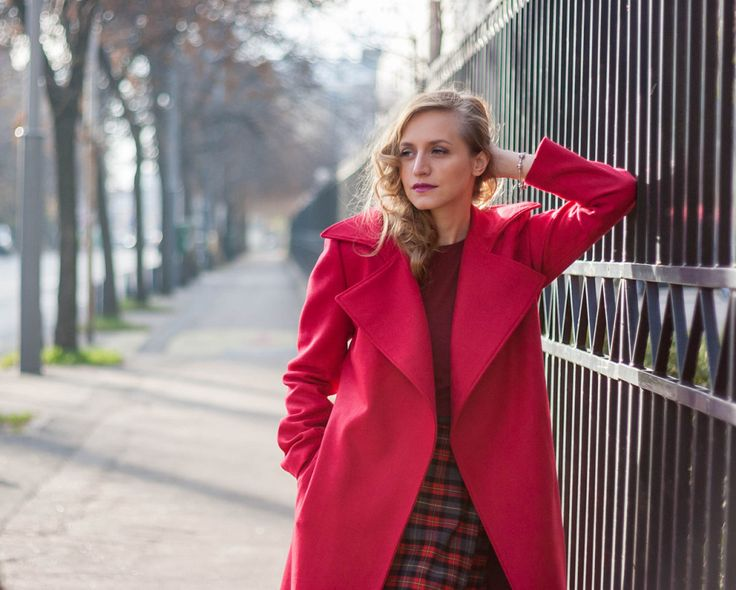 Fashion editorial red coat