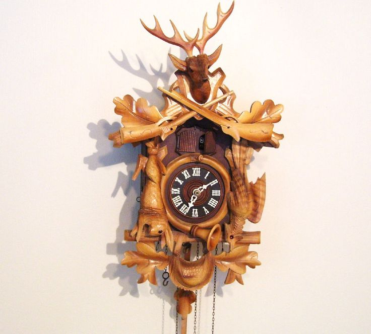 Vintage Hand Carved Cuckoo Clock Hunting Deer Rifles Pheasant Rabbit Horn Bag  $450.00 includes FREE USA  and Canada Shipping!