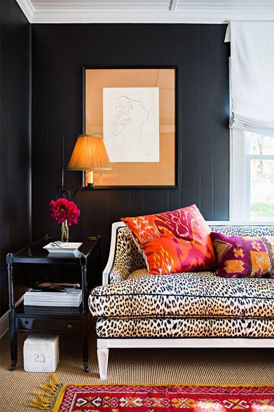 Exotic Interior Design | Leopard Print | Black Walls | #LeopardPrint | #BlackWalls | Tribal | #Tribal