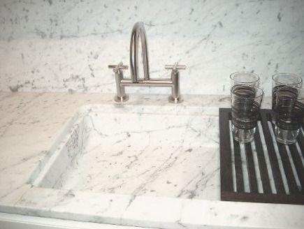 Poliformu0027s Rectangular, Shallow Carrara Marble Bar Sink Is Set In The  Matching Marble Counter Top With A Full Positive Reveal.
