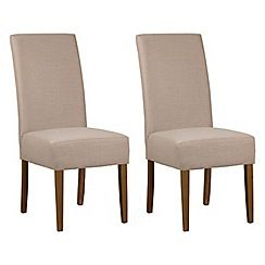 Debenhams - Pair of beige fabric 'Parsons' dining chairs with dark wood legs