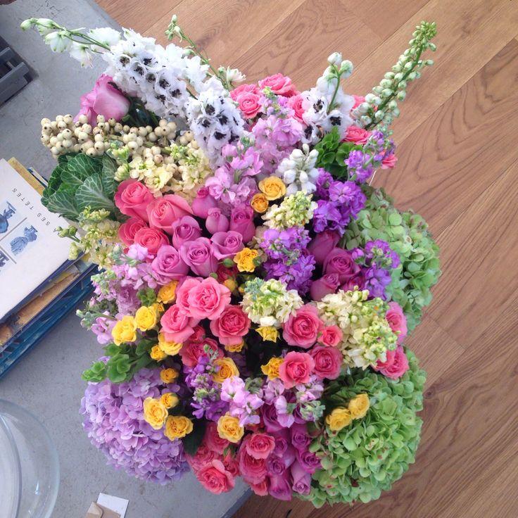 Roses, Baby roses delphinium and hydrangeas flower arrangement.