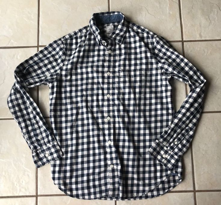 Gap Designed and Crafted Men's Navy Blue White Checked Cotton Dress Shirt M Euc #Gap