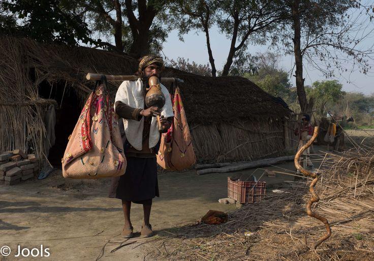 Snake charmer's hut, Vrindavan, India.