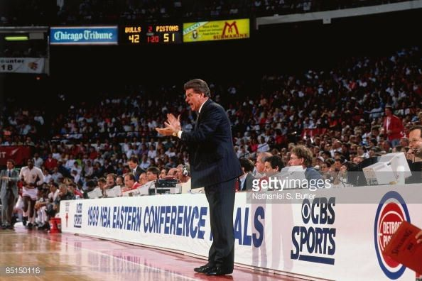 Fotografia de notícias : Head coach Chuck Daly of the Detroit Pistons...