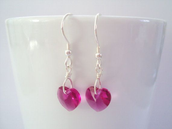 Swarovski Fuchsia Heart earrings in sterling silver (925