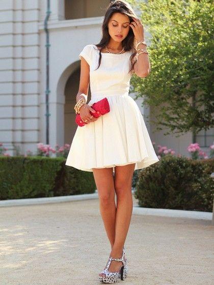 White Prom Dresses, Short Homecoming Dresses, Open Back Scoop Neck Cocktail Dress, White Chiffon Ruffles Prom Dress