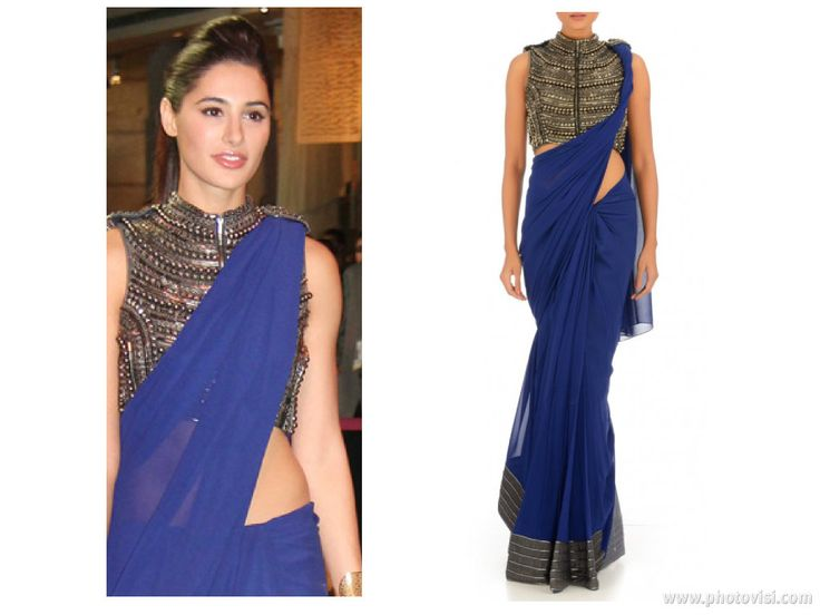 Annaikka royal blue sari as seen on Nargis Fakhri