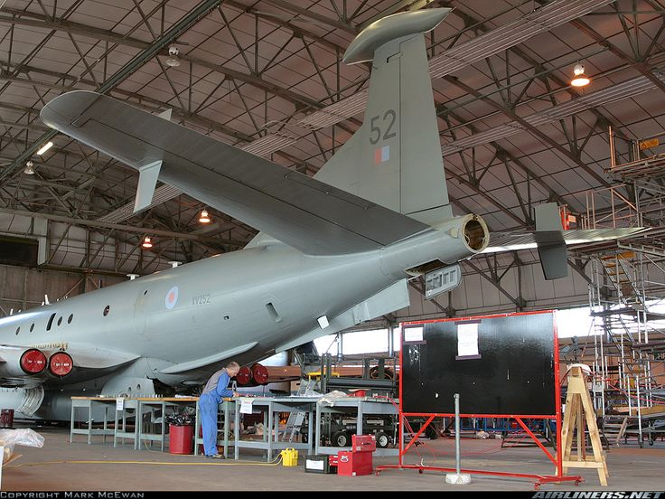 Nimrod MR2 on a modification programme in No4 hanger at RAF Kinloss.