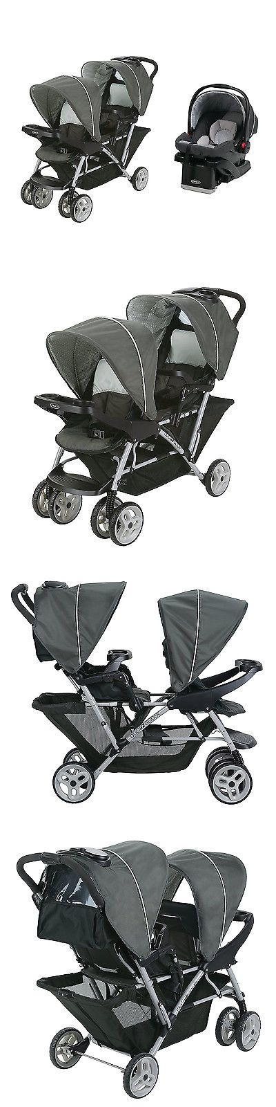 Baby: Graco Duoglider Click Double Stroller + Infant Car Seat Travel System | Glacier BUY IT NOW ONLY: $224.99