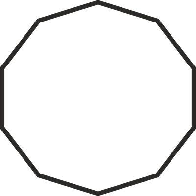 DECAGONO -  Polígono regular de 10 lados, representa a materialização da perfeição. Potencializa outros gráficos. Valoriza, concentra e limpa testemunhos. Possibilita a produção de substâncias, concretas ou abstratas, por ressonância. Ativa a perfeição individual. No campo da radiônica é utilizado para a criação de testemunhos artificiais e para ativar, ampliar, e sintonizar a energia dos pedidos.