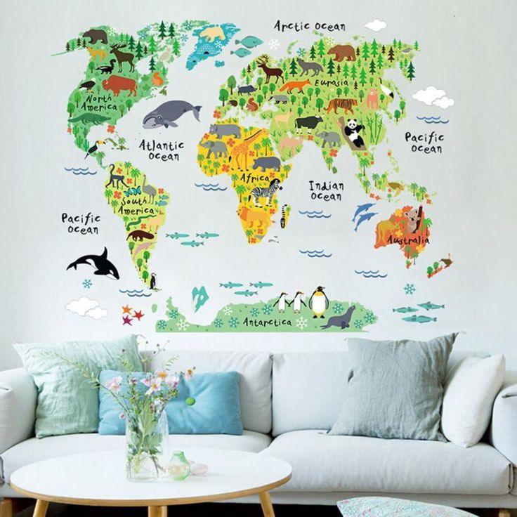 Animal World Map wall sticker stickers for kids rooms bedroom cartoon Home Decor living room